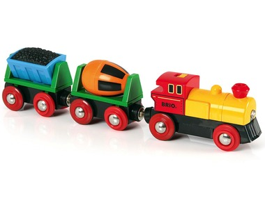 BRIO World Elektrický nákladní vlak s uhlím a cementem 33319