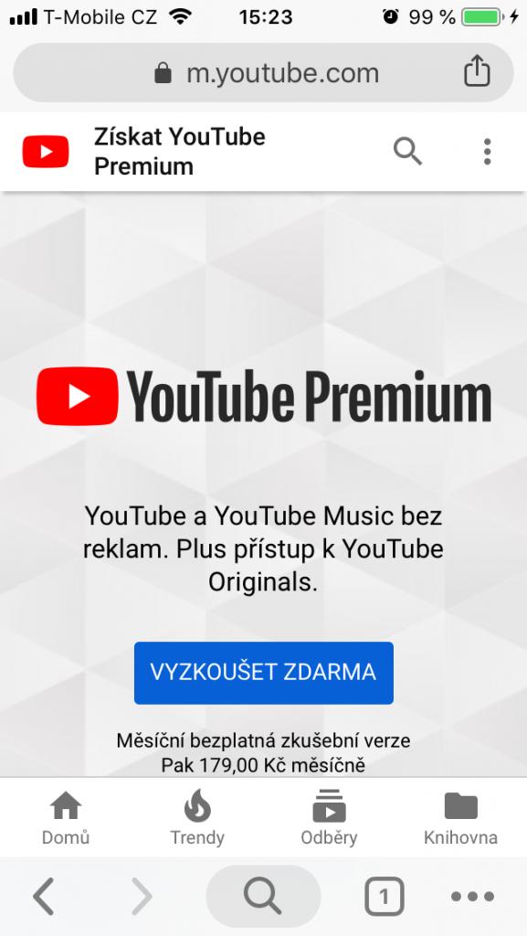 Youtube Premium za 179 Kč