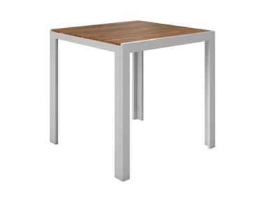 FLORABEST® Hliníkový stůl s deskou z eukalyptového dřeva, 75 x 75 cm