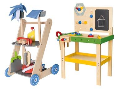 PLAYTIVE®JUNIOR Dřevěný ponk / úklidový vozík