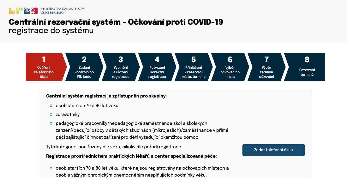 registrace na očkování covid 19